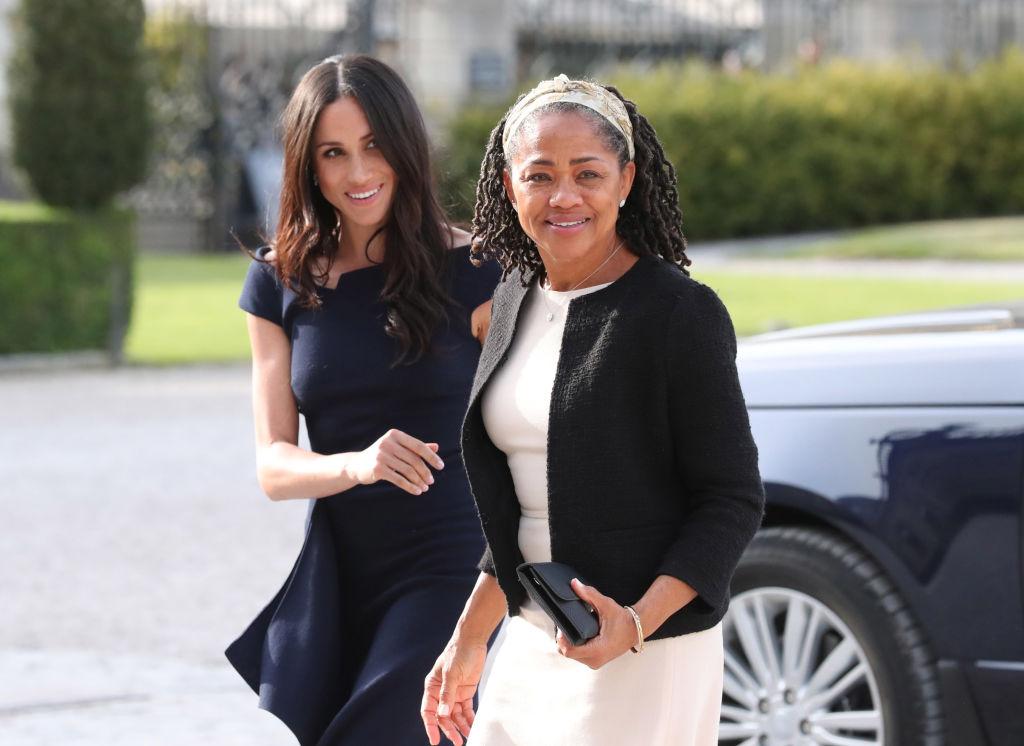 Meghan Markle walking with her mother, Doria Ragland
