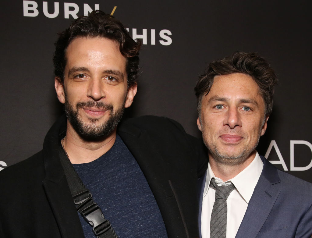 Nick Cordero and Zach Braff attend the Broadway Opening Night Arrivals for 'Burn This'