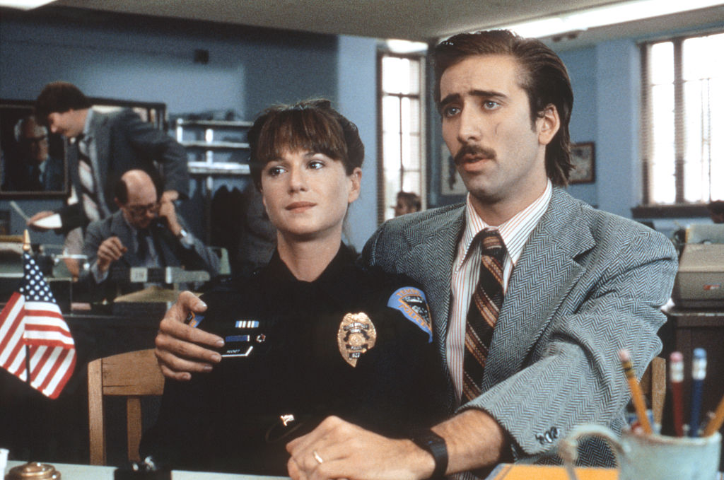 Nicolas Cage and Holly Hunter