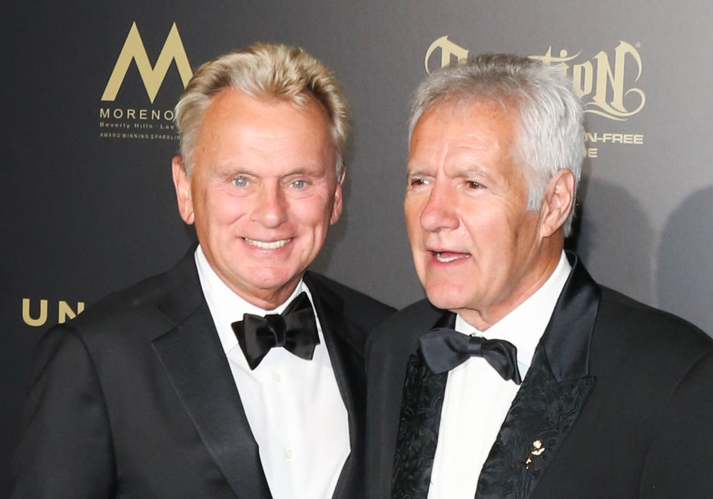 'Wheel of Fortune' host Pat Sajak and 'Jeopardy' host Alex Trebek attend the 44th annual Daytime Creative Arts Emmy Awards