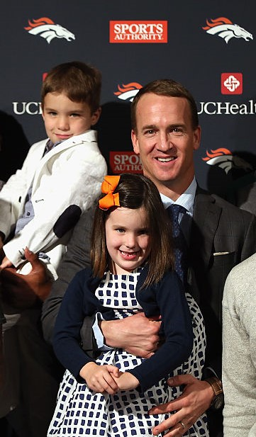 Peyton Manning  with daughter Mosley and son Marshall