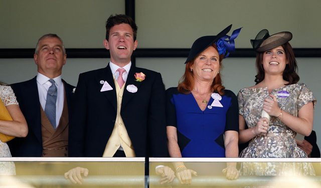 Prince Andrew, Jack Brooksbank, Sarah Ferguson, and Princess Eugenie attend the Royal Ascot
