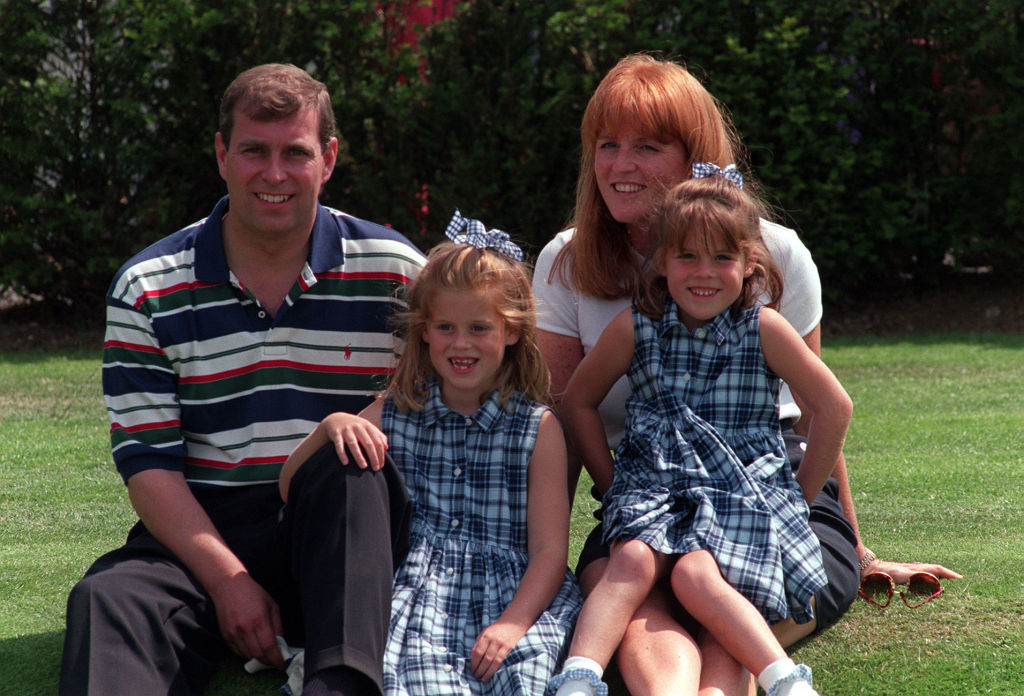 Prince Andrew and Sarah Ferguson with their daughters, Princess Beatrice and Princess Eugenie, in 1996