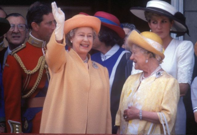 Prince Charles, Queen Elizabeth II, The Queen Mother, and Princess Diana