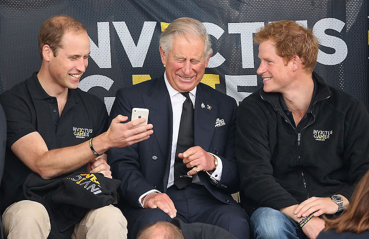Prince Charles with his two sons, Prince William and Prince Harry