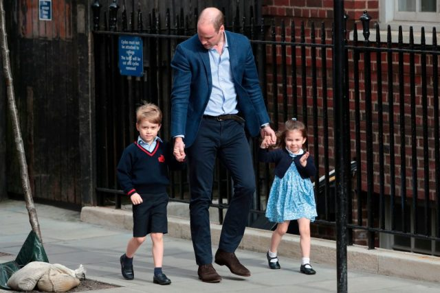 Prince George, Prince William, and Princess Charlotte go to meet Prince Louis