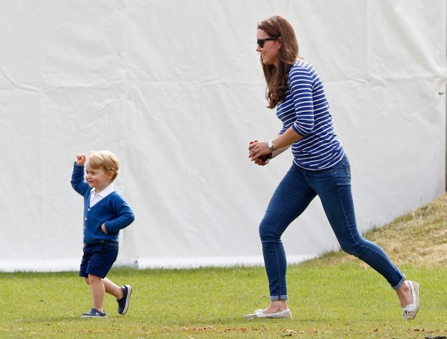 Prince George and Kate Middleton play at a charity polo match, 2015
