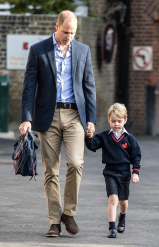 Prince George is taken to his first day of school by his dad, Prince William, in 2017