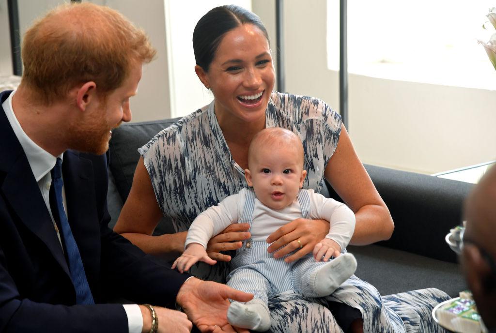 Prince Harry, Meghan Markley, and birthday boy,  Archie Harrison Mountbatten-Windsor