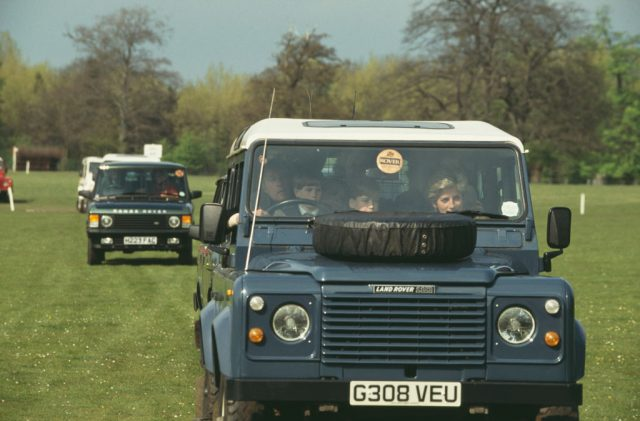 Princess Diana in a car with Prince Harry at the Badminton Horse Trials
