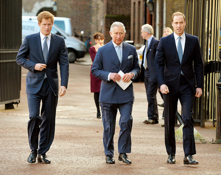 Prince Harry alongside Prince Charles and Prince William in 2014