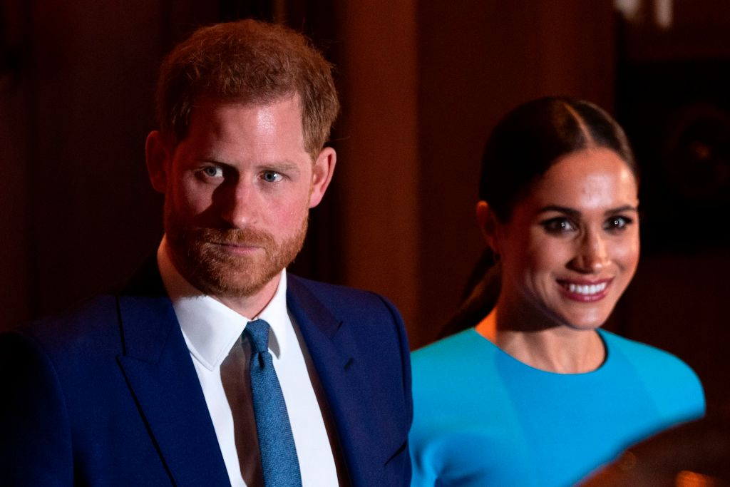 Prince Harry and Meghan Markle at an event in March 2020