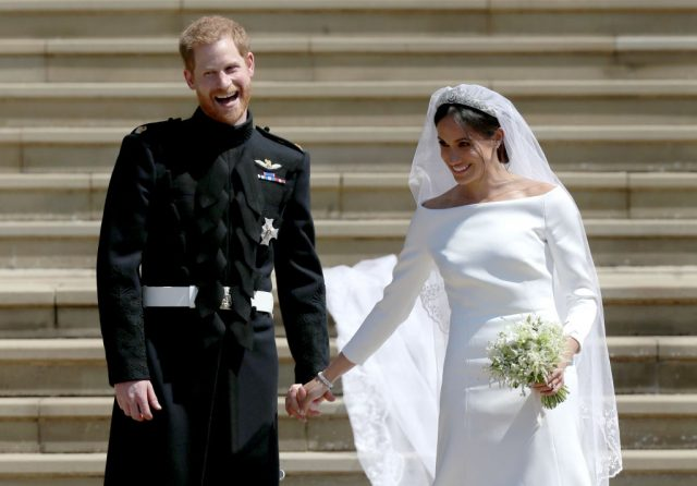 Prince Harry and Meghan Markle exit St. George's Chapel following their royal wedding, 2018