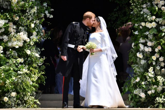 Prince Harry and Meghan Markle kiss following their wedding ceremony