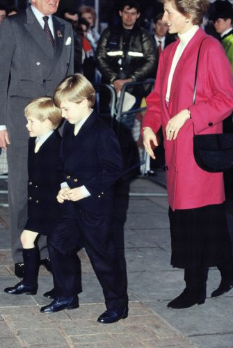 Prince William and Prince Harry walk ahead of their mother, Princess Diana