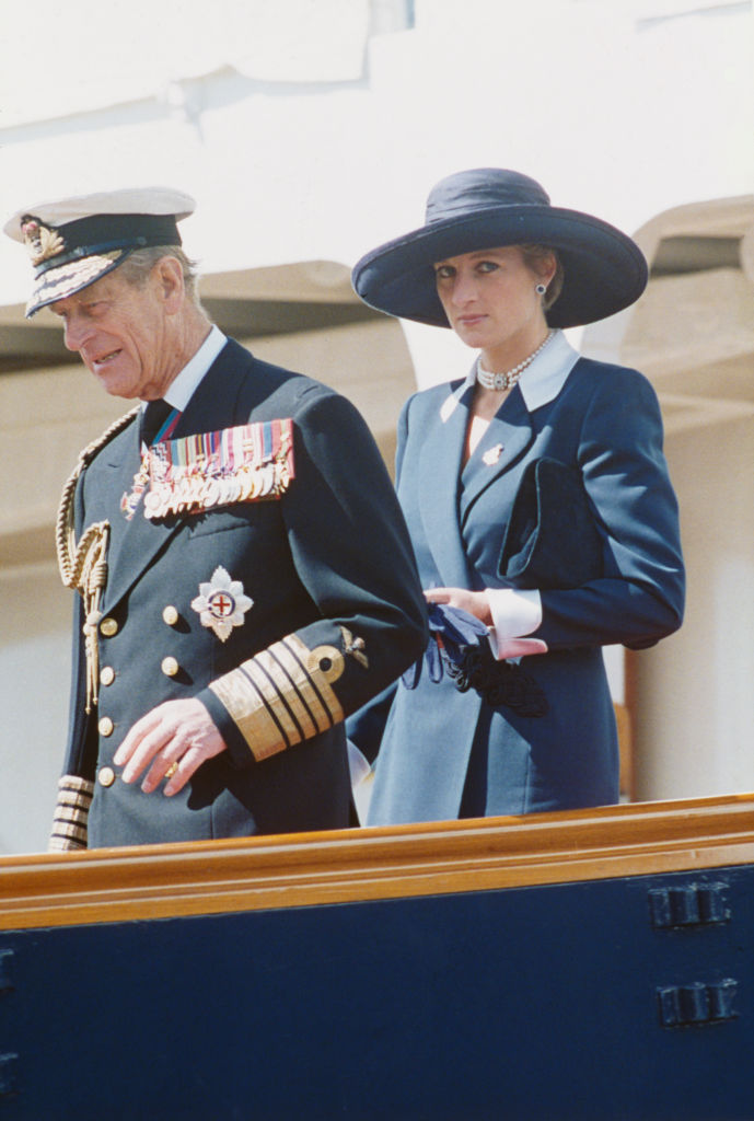 Prince Philip and Princess Diana disembark the Royal Yacht Britannia