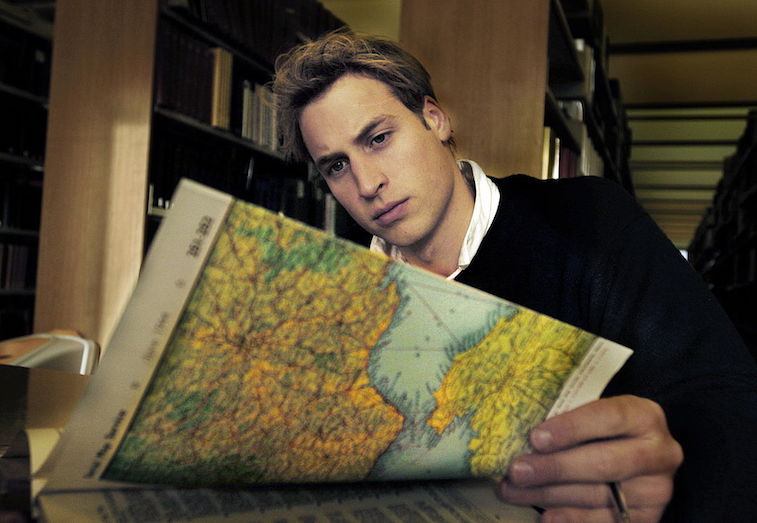 Prince William poses for a photo inside the St. Andrews library in 2004