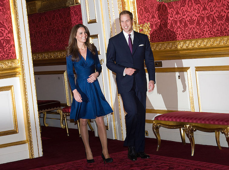 Prince William and Kate Middleton arriving to announce their engagement in 2010