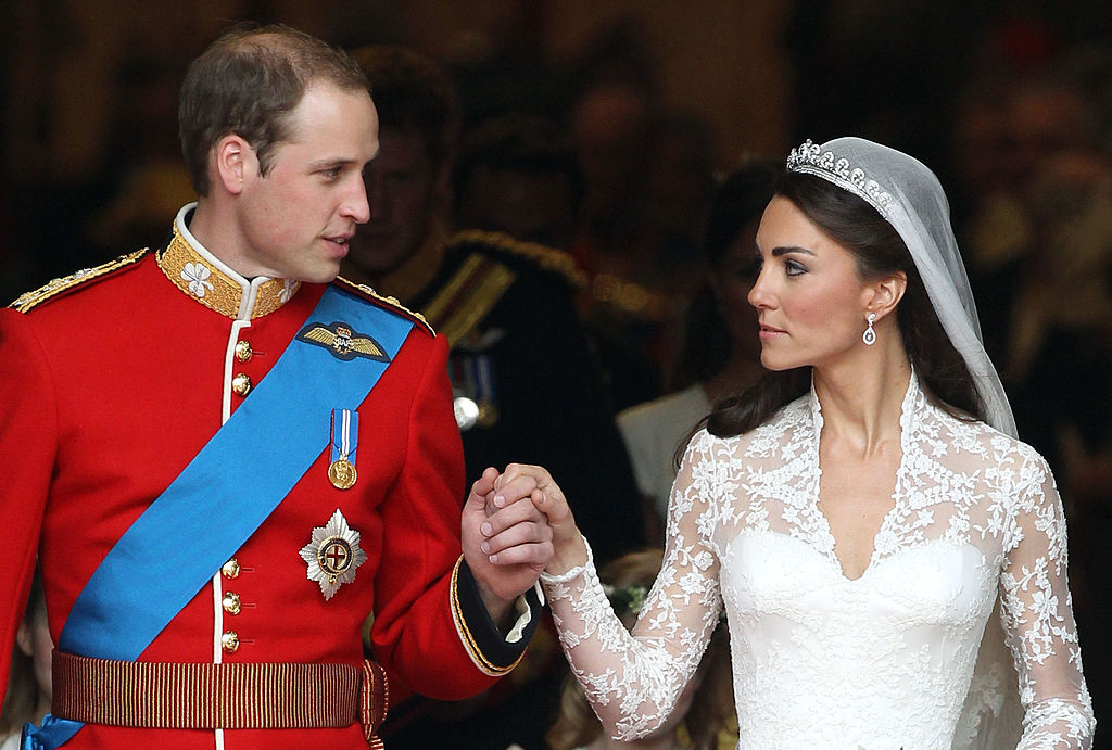 Prince William and Kate Middleton following their marriage at Westminster Abbey on April 29, 2011