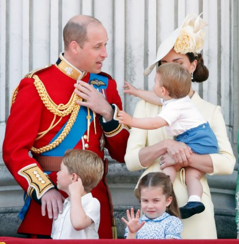 Prince William and Kaet Middleton with their children Prince George, Princess Charlotte, and Prince Louis at 2019 Trooping the Colour