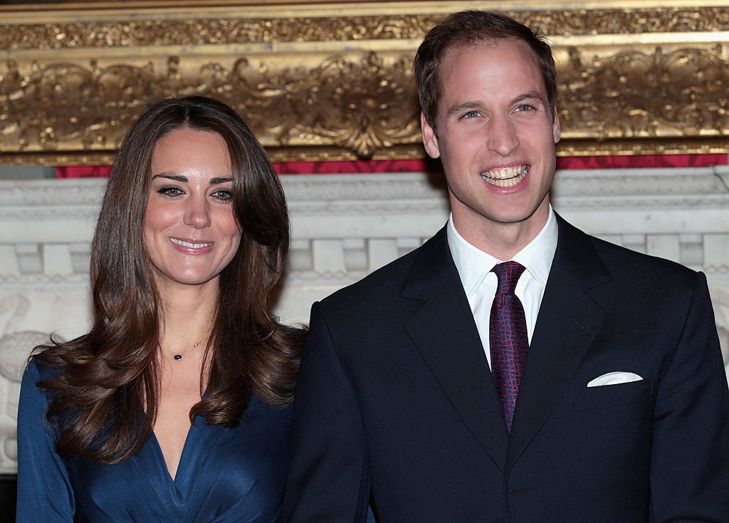Prince William and Kate Middleton pose for photographs in the State Apartments of St James Palace