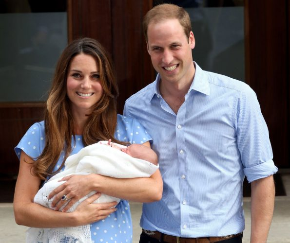 Prince William and Kate Middleton leave the Lindo Wing with newborn Prince George, 2013