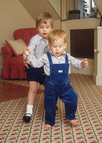 Prince William and Prince Harry in their playroom at Kensington Palace