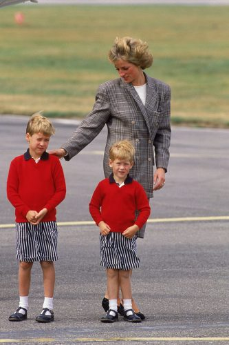 Princess Diana with Prince Harry and Prince William at Aberdeen Airport