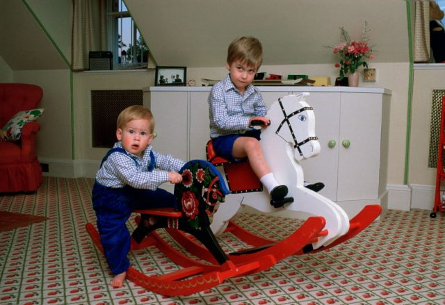 Prince William and Prince William on rocking horses as children