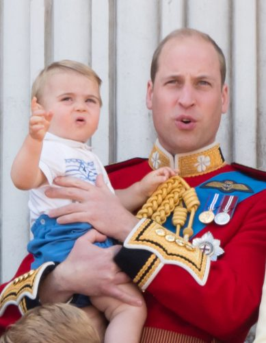 Prince William holds Prince Louis at 2019 Trooping the Colour