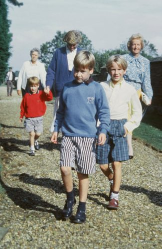 Prince Harry, Princess Diana, Frances Shand Kydd, Prince William, and Alexander Fellowes leave a wedding rehearsal