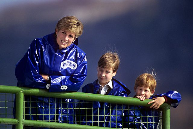 Princess Diana with Prince William and Prince Harry at Niagra Falls