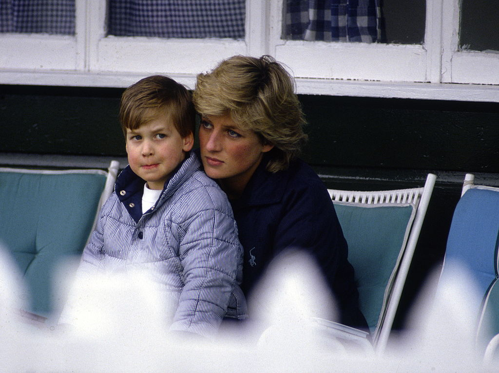 Prince William At Guards Polo Club Being Comforted By His Mother, Princess Diana.