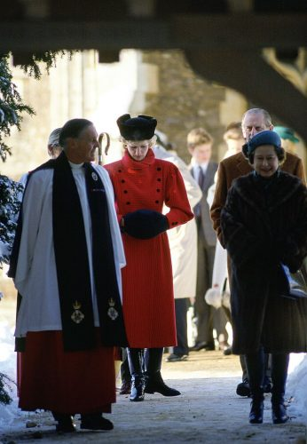 Princess Diana leaves church with Queen Elizabeth and Prince Philip
