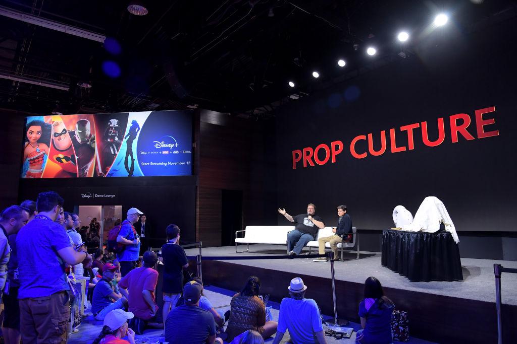 "Dan Lanigan and Jason Henry of ""Prop Culture"" speak at the Disney+ Pavilion"