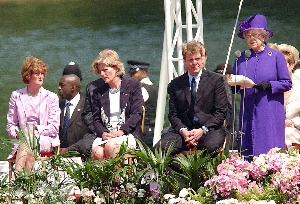 Queen Elizabeth II, Charles Spencer, Sarah McCorquodale, and Jane Fellowes
