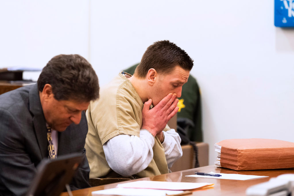 Josh Waring, right, and his lawyer Joel Garson listen to the judge during a hearing in superior court in Santa Ana, CA on Friday, March 6, 2020