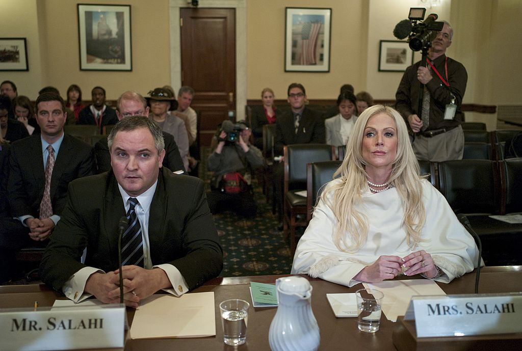Tareq and Michaele Salahi, the couple accused of crashing President Obama's first state dinner in November, before the  House Homeland Security Committee hearing on the incident