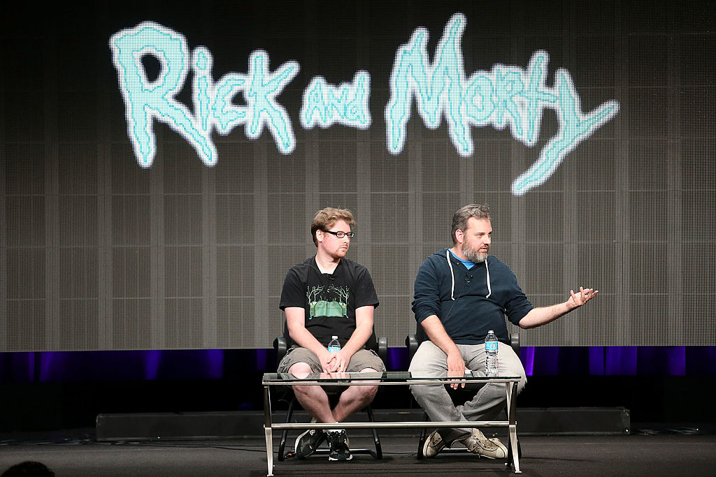 Creators Justin Roiland and Dan Harmon speak onstage during the Adult Swim: Rick and Morty panel at the Turner Broadcasting portion of the 2013 Summer Television Critics Association tour at the Beverly Hilton Hotel on July 24, 2013 in Beverly Hills, California.