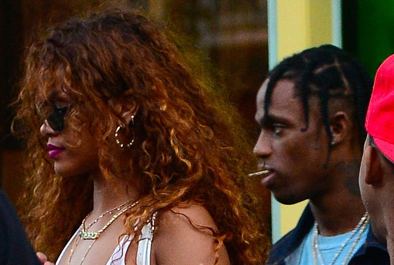 Rihanna and Travis Scott leaving a restaurant in August 2015