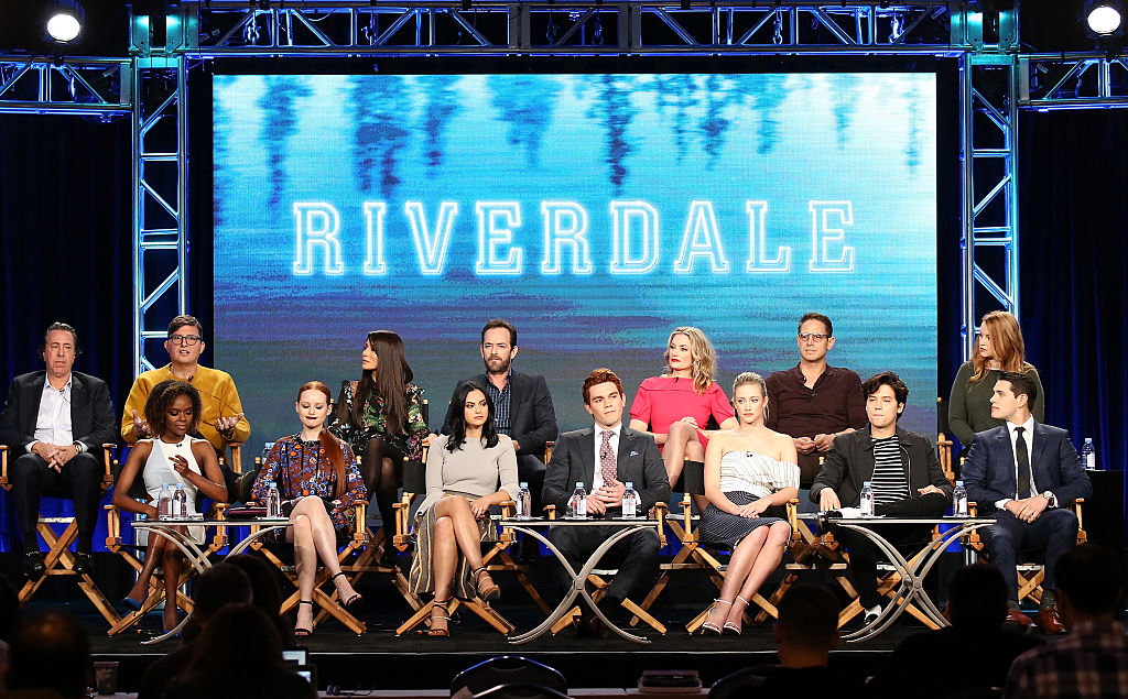 """Cast and Crew of the television show """"Riverdale"""" onstage during the 2017 Winter TCA Tour Panels - CW held at The Langham Huntington Hotel and Spa on January 8, 2017 in Pasadena, California."""