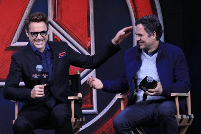 Robert Downey Jr. and Mark Ruffalo at an 'Avengers: Age of Ultron' press conference | Visual China Group via Getty Images/Visual China Group via Getty Images