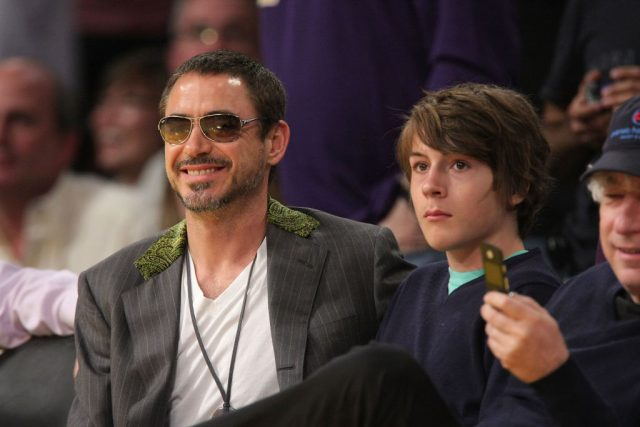 Robert Downey Jr. and Indio Downey at a Lakers game in 2008