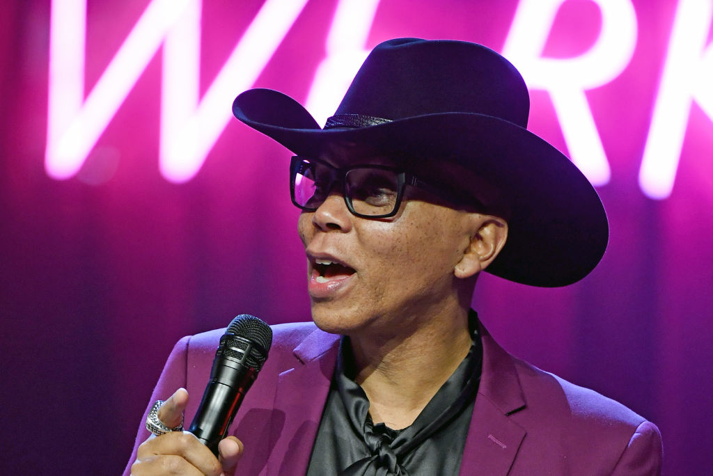 "Director RuPaul speaks onstage during a news conference for ""RuPaul's Drag Race Live!"""
