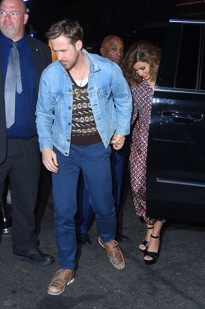 Ryan Gosling and Eva Mendes at a party in September 2017