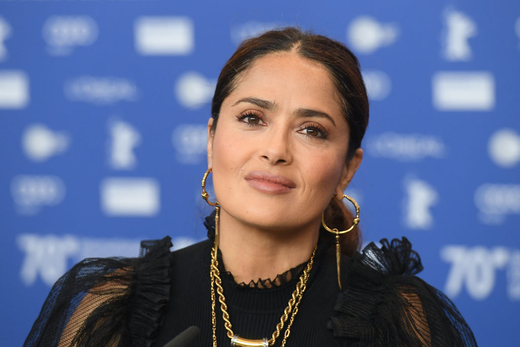 Salma Hayek attends a press conference for 'The Roads Not Taken' at the Berlinale International Film Festival