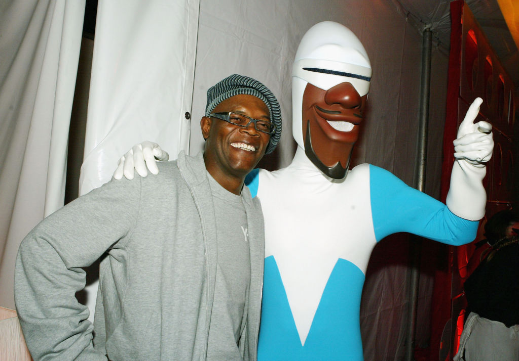 Actor Samuel L. Jackson with his character 'Frozone' of 'The Incredibles'
