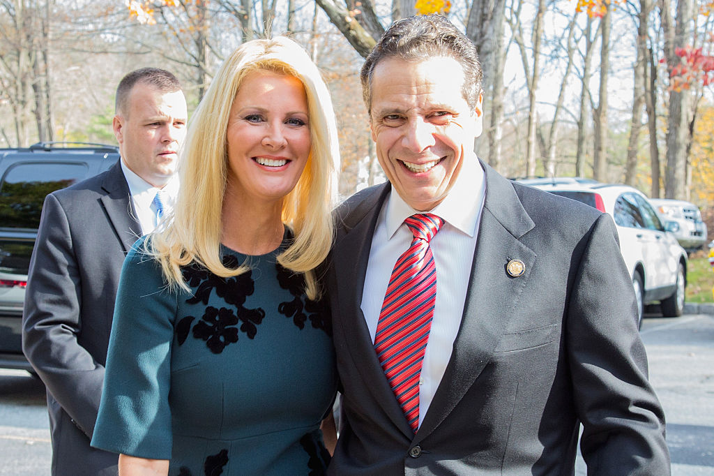 New York State Governor, Andrew Cuomo (R), and Sandra Lee, vote during the 2014 general election at the Presbyterian Church of Mount Kisco