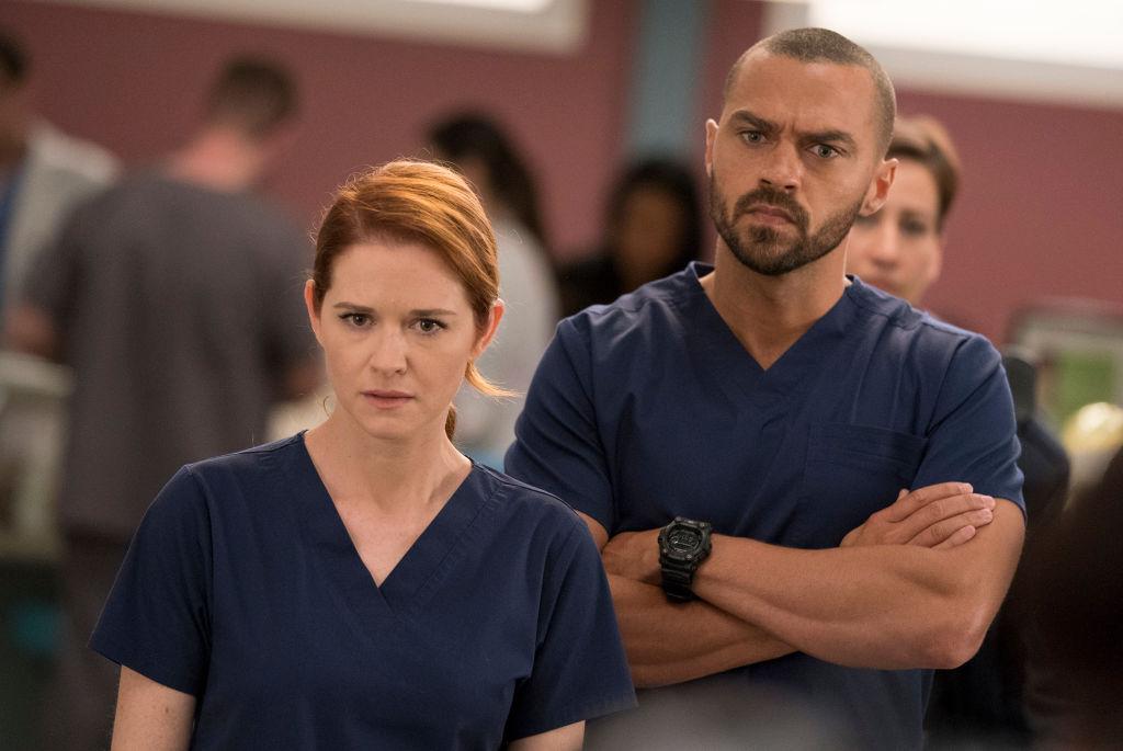 "Sarah Drew as April Kepner and Jesse Williams as Jackson Avery on ABC's ""Grey's Anatomy"" - Season Fourteen"