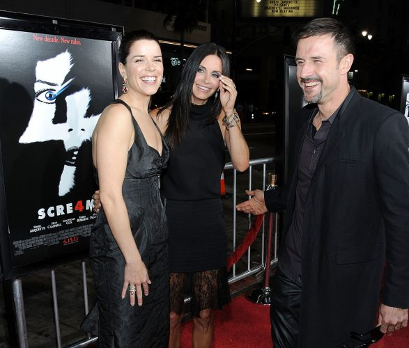 Neve Campbell, Courteney Cox, and David Arquette at the premiere of 'Scream 4'